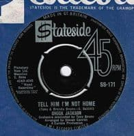 CHUCK JACKSON Tell Him I'm Not Home Vinyl Record 7 Inch Stateside 1963